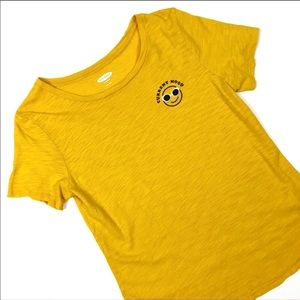 Old Navy | Yellow Smiley Face 'Current Mood' Tee S